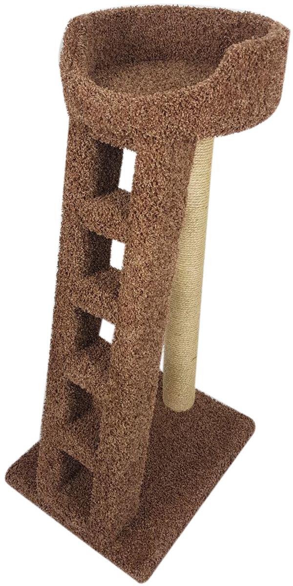 Когтеточка Лежанка с лестницей Пушок ковролин греча (1 шт)