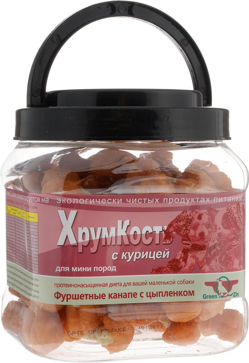Лакомство Green Qzin ХрумКость для собак маленьких пород гантельки сушеные с курицей 750 гр (1 шт)