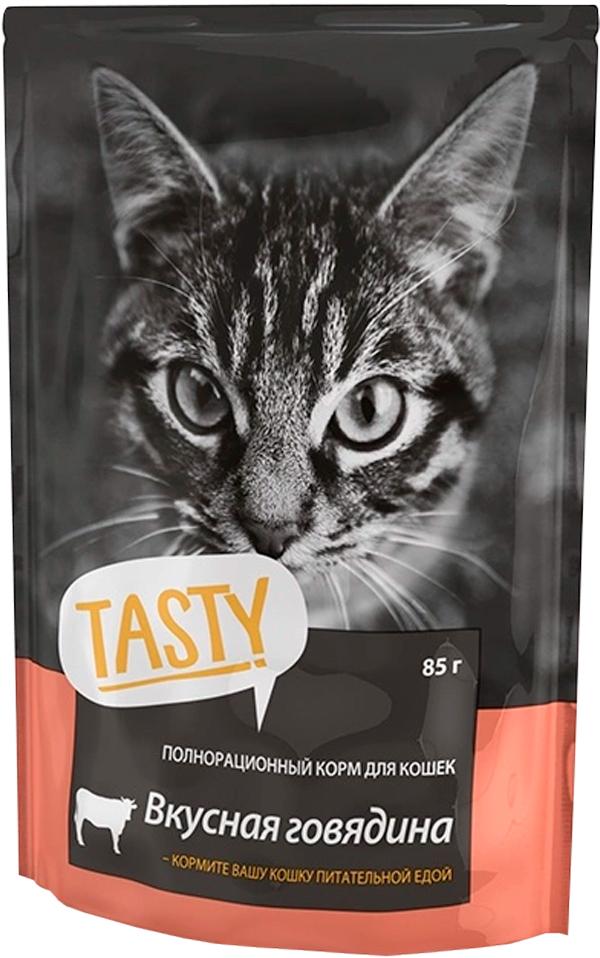 Tasty для кошек с говядиной в желе (85 гр)
