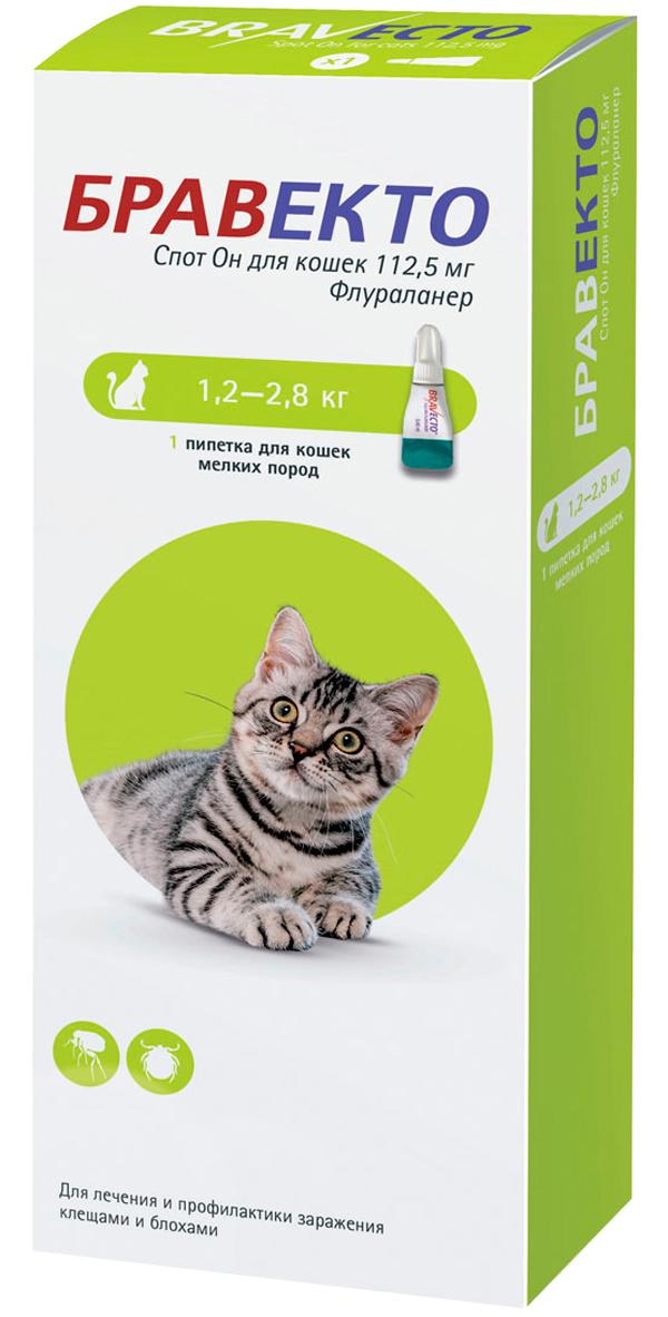 бравекто спот он капли для кошек весом от 1,2 до 2,8 кг против клещей и блох (1 пипетка)