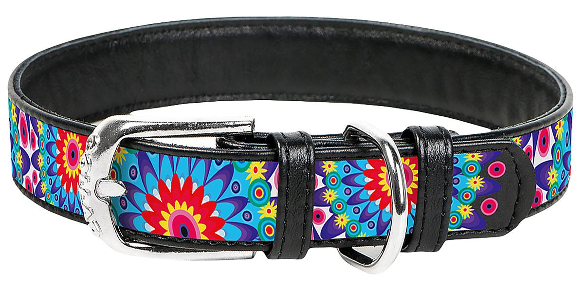 Ошейник кожаный для собак Цветы черный 35 мм 46 – 60 см Collar WauDog (1 шт) фото