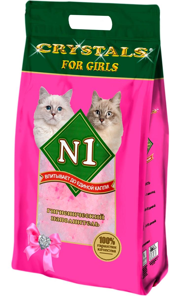 № 1 Crystals For Girls наполнитель силикагелевый для туалета кошечек (12,5 + 12,5 л)