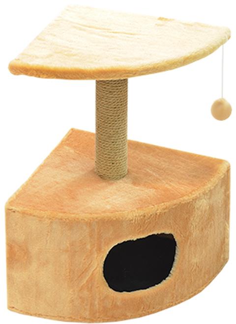Дом для кошек круглый угловой Зооник бежевый мех 43 х 43 х 67 см (1 шт)