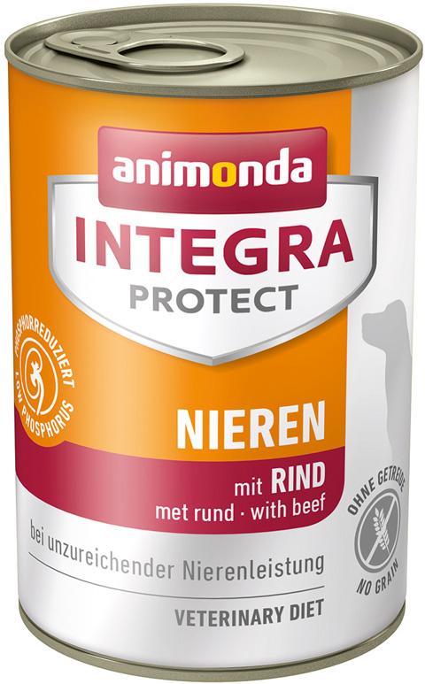 Animonda Integra Protect Dog Nieren Renal для взрослых собак при хронической почечной недостаточности с говядиной 400 гр (400 гр х 6 шт)