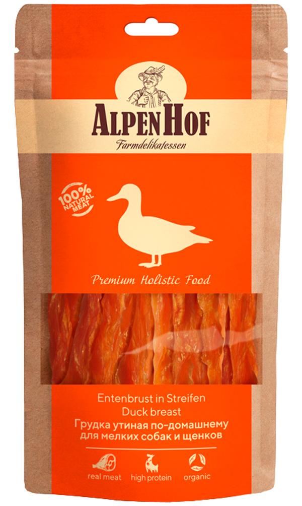Лакомство AlpenHof для собак средних и крупных пород грудка нежная утиная 80 гр (1 уп)