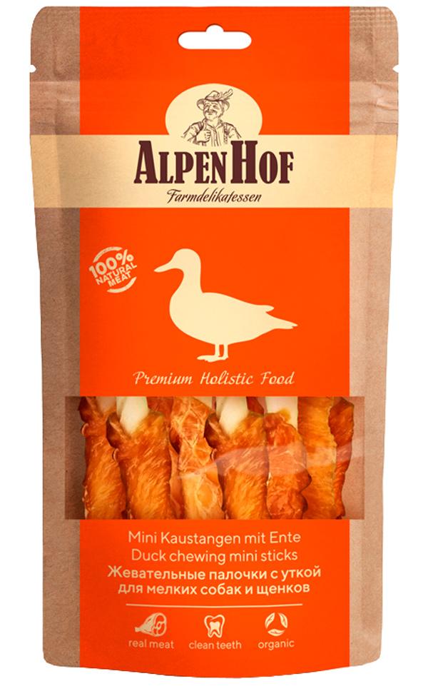 Лакомство AlpenHof для собак маленьких пород и щенков палочки жевательные с уткой 50 гр (1 уп)
