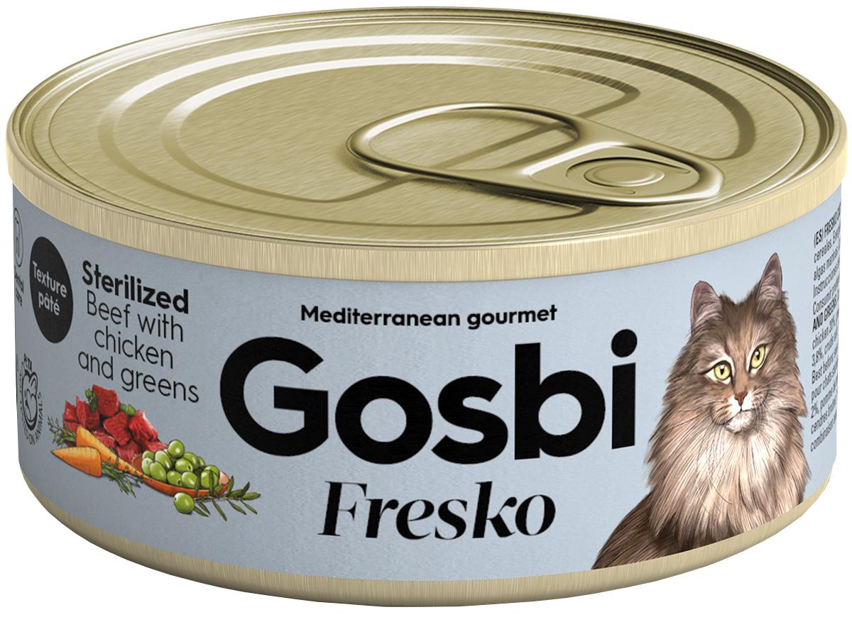 Gosbi Fresko Cat Sterilized беззерновые для взрослых кастрированных котов и стерилизованных кошек с говядиной, курицей и зеленью 70 гр (70 гр х 32 шт)
