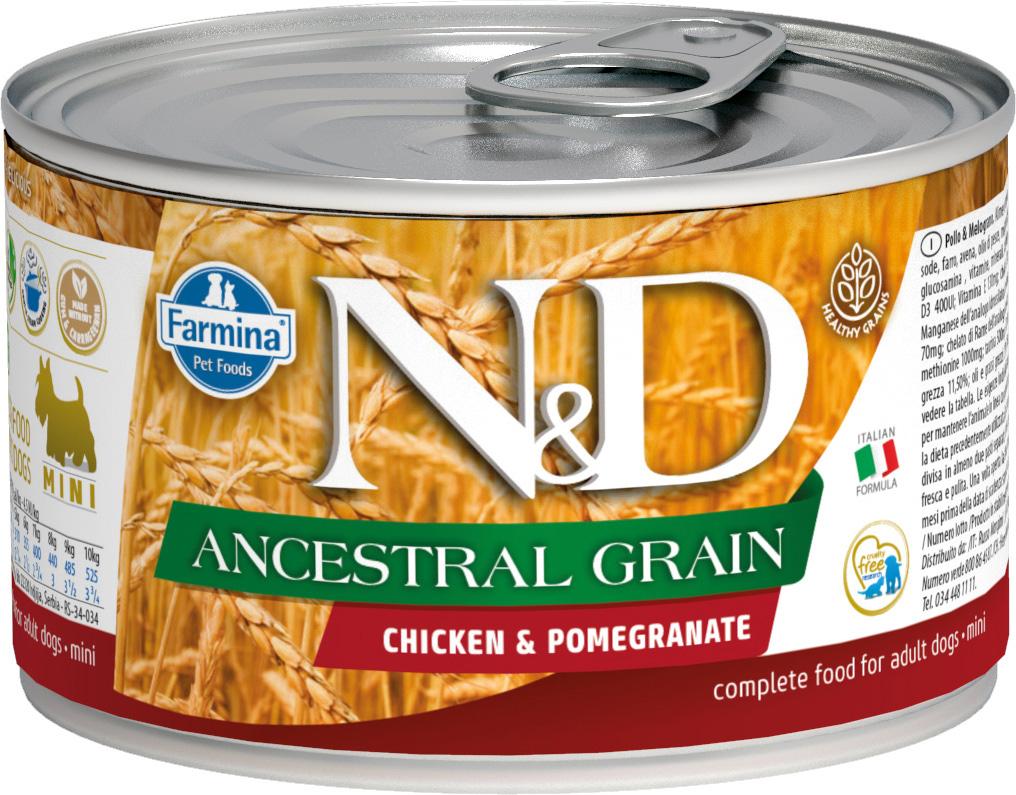 Farmina Dog N&d Ancestral Grain Adult Mini Chicken & Pomegranate низкозерновые для взрослых собак маленьких пород с курицей и гранатом 140 гр (140 гр)