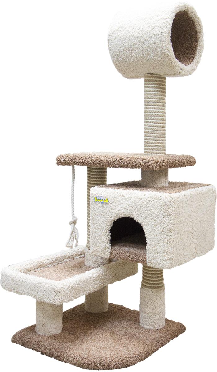 Комплекс для кошек Зооник с квадратным домом, лежанкой и трубой ковролин коричневый 56 х 70 х 145 см (1 шт)