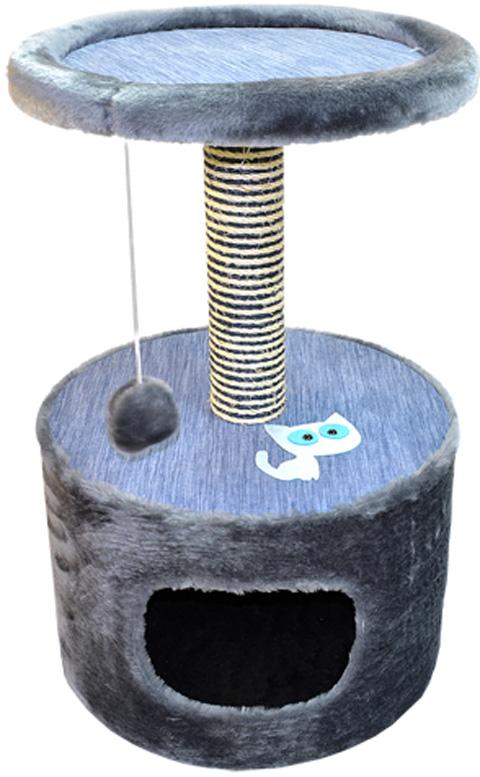 Дом для кошек круглый Зооник серый мех/мебельная ткань 42 х 66 см (1 шт)