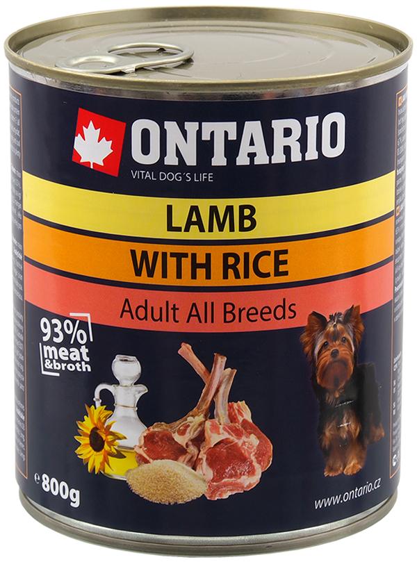 Ontario для взрослых собак с ягненком и рисом (800 гр х 6 шт)