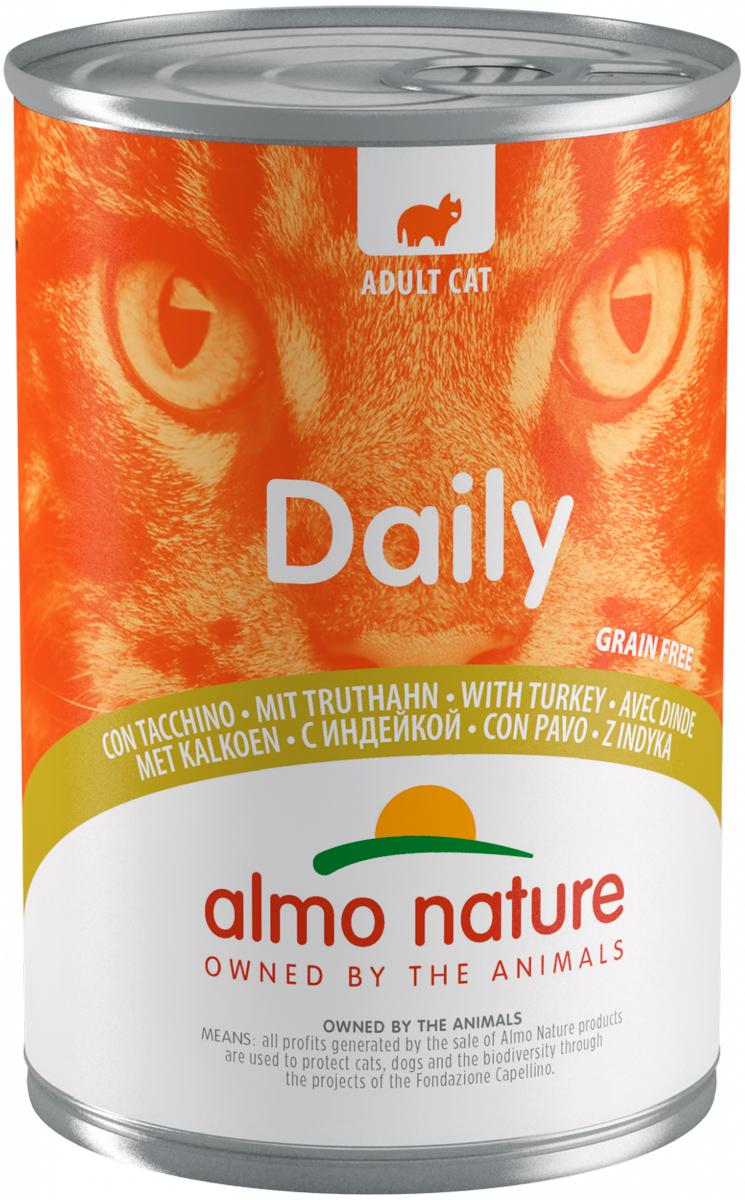 Almo Nature Cat Daily Menu беззерновые для взрослых кошек с индейкой  (400 гр х 12 шт).