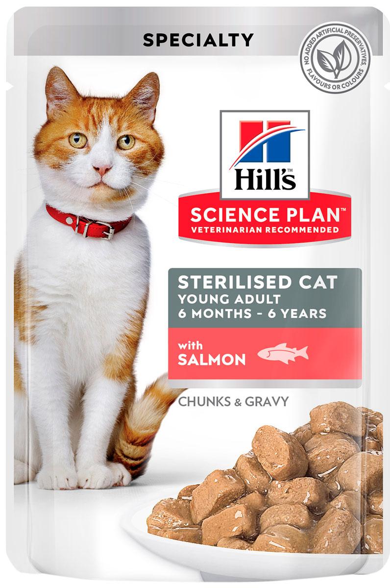 Hill's Science Plan Young Adult Sterilised Cat Salmon для взрослых кастрированных котов и стерилизованных кошек с лососем в соусе (85 гр х 12 шт) hill's science plan young adult sterilised cat salmon для взрослых кастрированных котов и стерилизованных кошек с лососем в соусе 85 гр