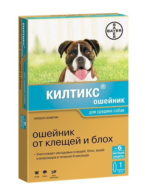 Kiltix – Килтикс ошейник для средних собак против клещей, блох, вшей и власоедов (длина 48 см) Bayer (1 шт)