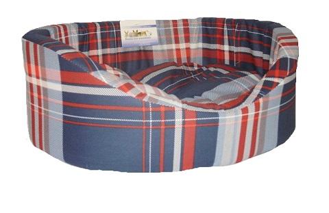 Лежак для собак с бортиком № 7, шотландка синяя, 92 х 62 х 24 см (1 шт) фото