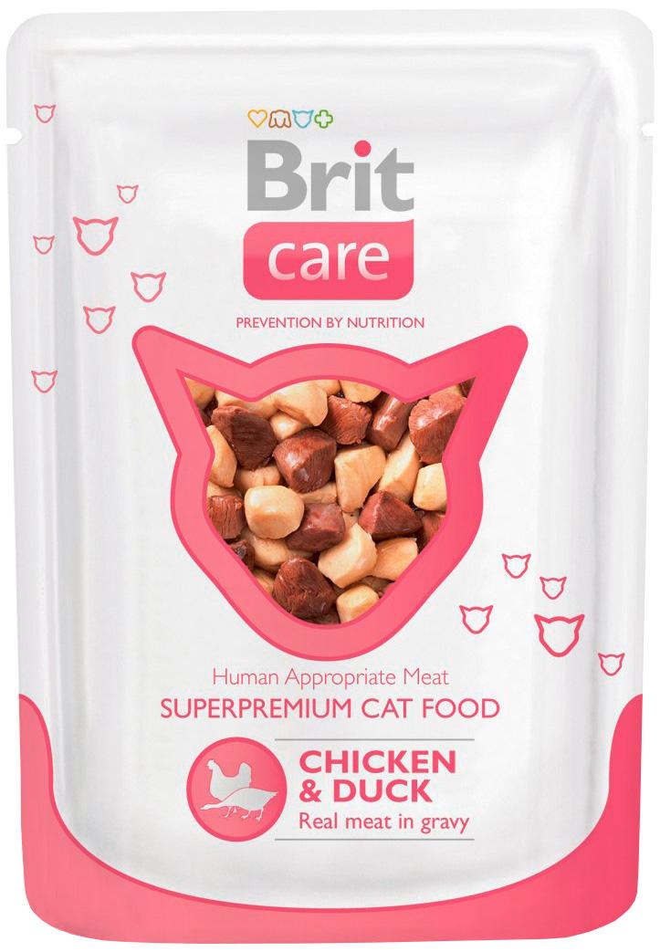 Brit Care Cat Chicken & Duck для взрослых кошек с курицей и уткой 80 гр (80 гр) brit care cat chicken breast для взрослых кошек с куриной грудкой 80 гр 80 гр