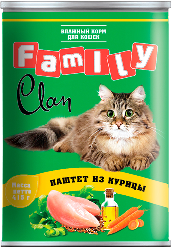 Clan Family для взрослых кошек паштет с курицей 415 гр (415 гр) фото