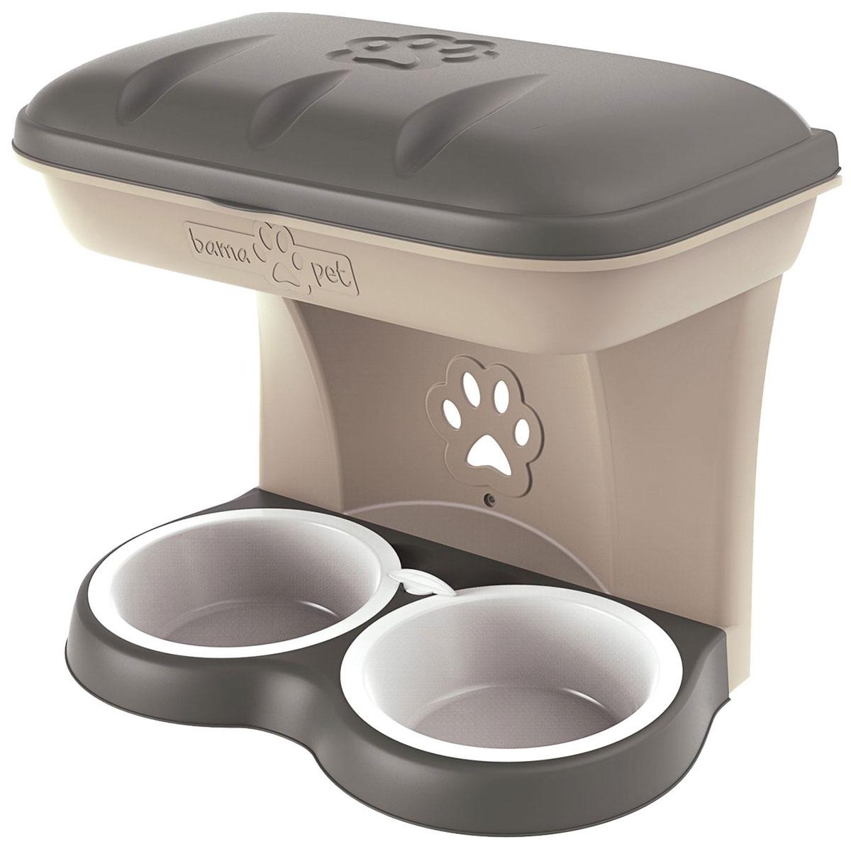 Миска настенная двойная для собак Bama Pet бежевая 2200 мл 50 х 29 х 52 см (1 шт)