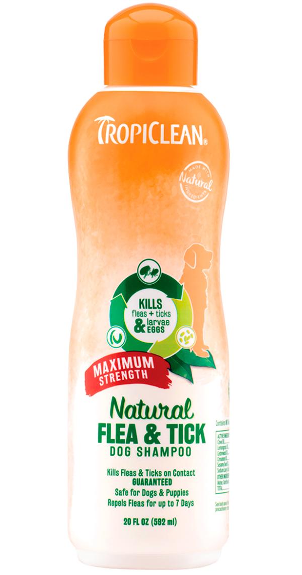 Tropiclean Maximum Strength Shampoo Flea  Tick шампунь для собак от блох и клещей Максимальная защита (592 мл).