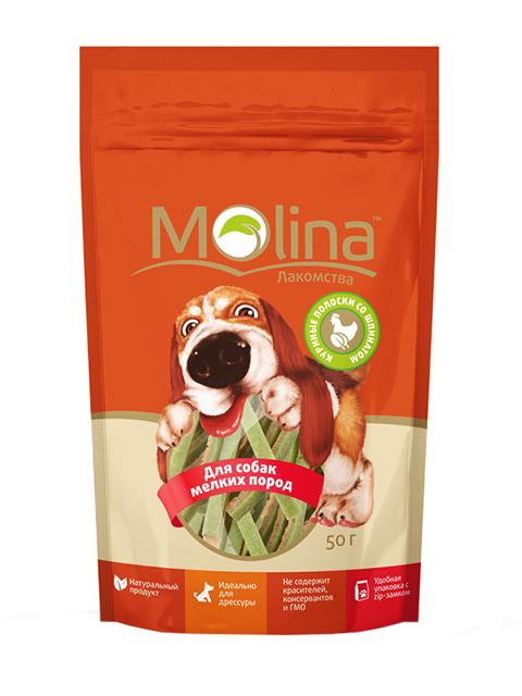 Лакомство Molina для взрослых собак маленьких пород куриные полоски со шпинатом (50 гр)