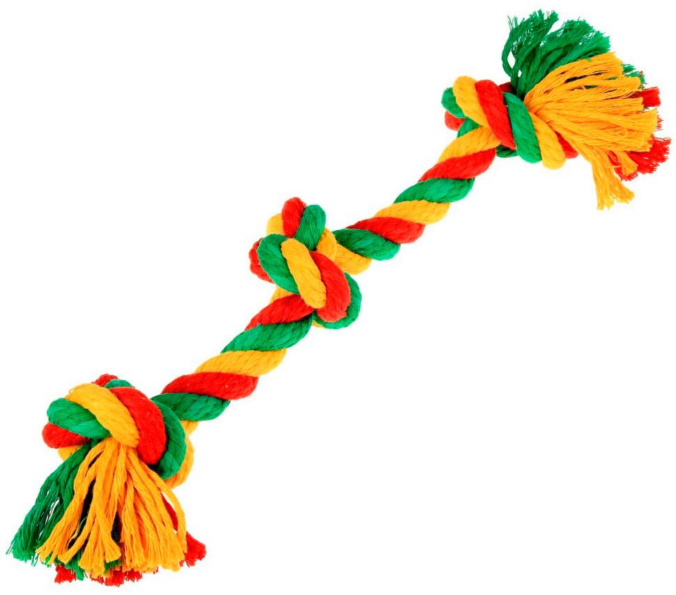Игрушка для собак Doglike Dental Knot Грейфер с 3 узлами канатный цветной большой (1 шт)