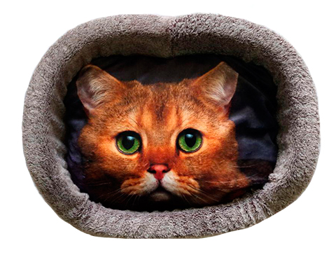 Лежак для кошек PerseiLine Дизайн № 5 принт 16 овальный 55 х 47 х 16 см (1 шт) фото