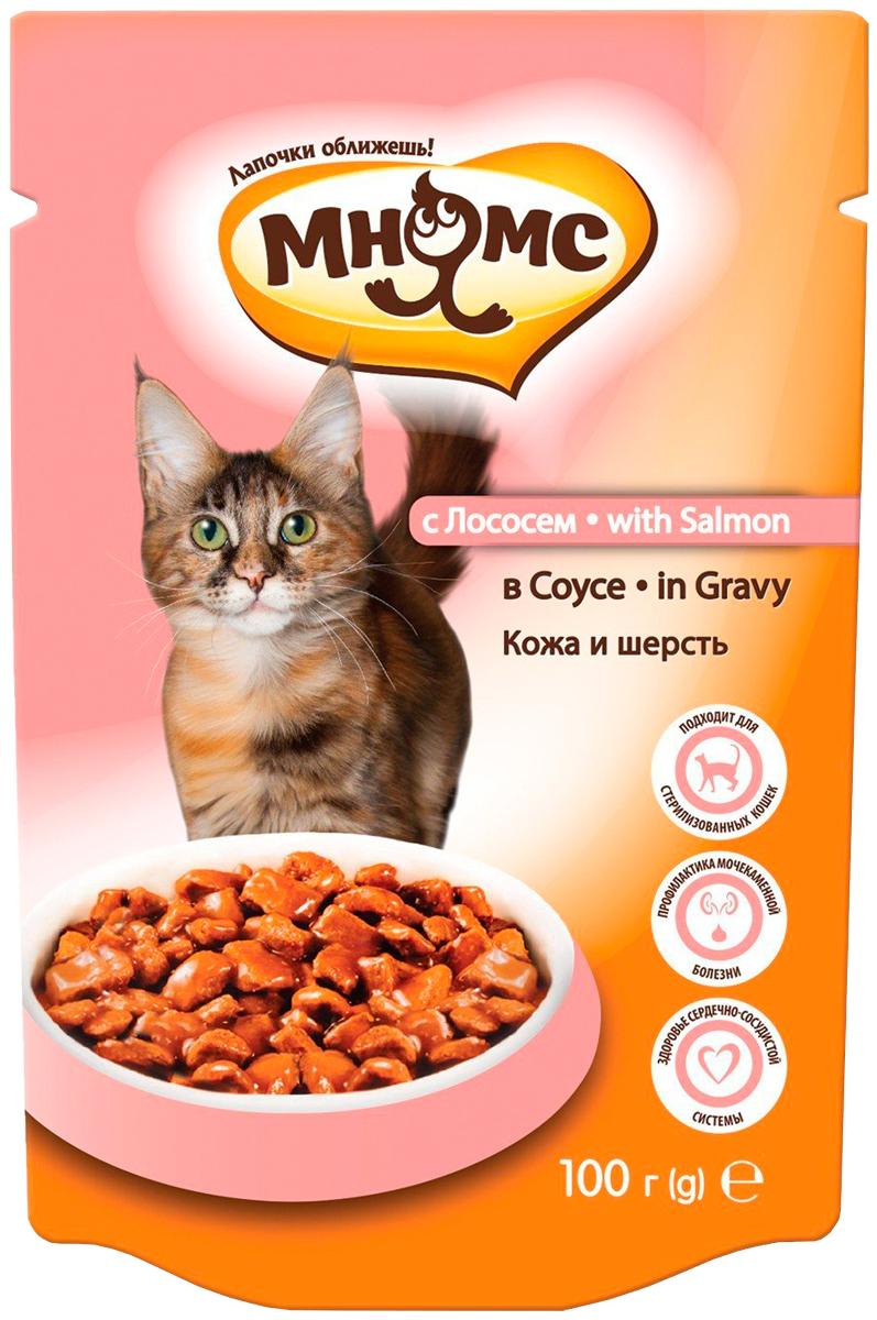мнямс кожа и шерсть для взрослых кошек с лососем в соусе 100 гр (100 гр)