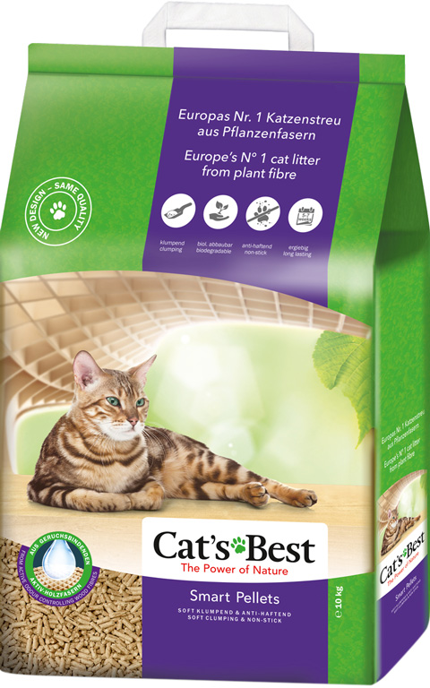 Cat's Best Smart Pellets - Кэтс Бэст наполнитель древесно-комкующийся для длинношерстных кошек (10 л) фото