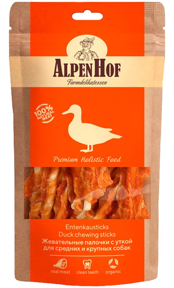 Лакомство AlpenHof для собак средних и крупных пород палочки жевательные с уткой 80 гр (1 уп)