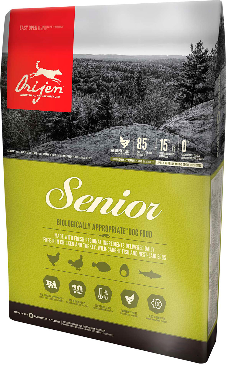 Orijen Senior 85/15 для пожилых собак всех пород (11,4 + 11,4 кг) фото
