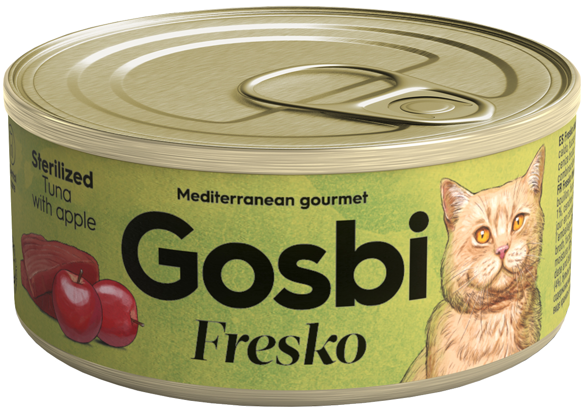 Gosbi Fresko Cat Sterilized для взрослых кастрированных котов и стерилизованных кошек с тунцом и яблоком 70 гр (70 гр х 32 шт)