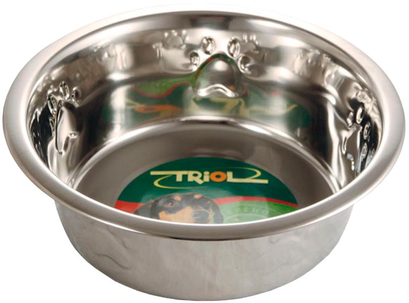 Triol миска металлическая с тиснением (0,35 л) миска beeztees стальная с креплением для собак 300 мл