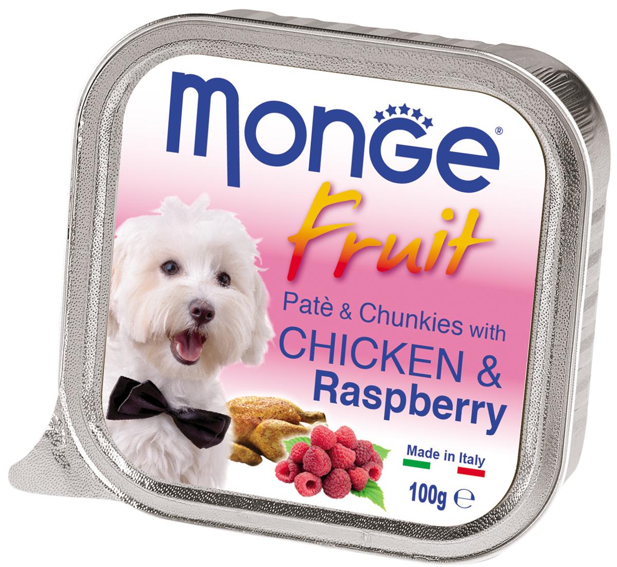 Monge Dog Fruit для взрослых собак паштет с курицей и малиной 100 гр (100 гр)