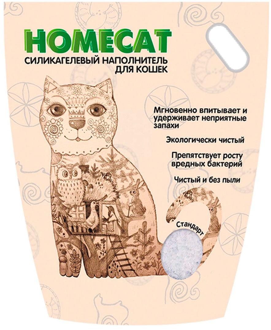 Homecat стандарт наполнитель силикагелевый для туалета кошек без запаха (7,6 + 7,6 л)