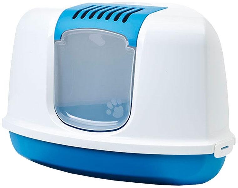 Savic Nestor Corner туалет домик для кошек угловой синий 58,5 х 45,5 х 40 см (1 шт) фото