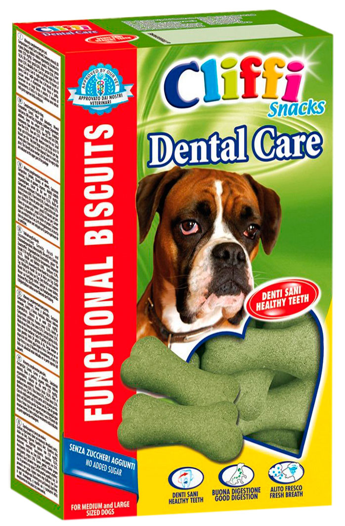 Лакомство Cliffi Dental care Здоровые зубы для взрослых собак крупных пород бисквиты 350 гр (1 шт)