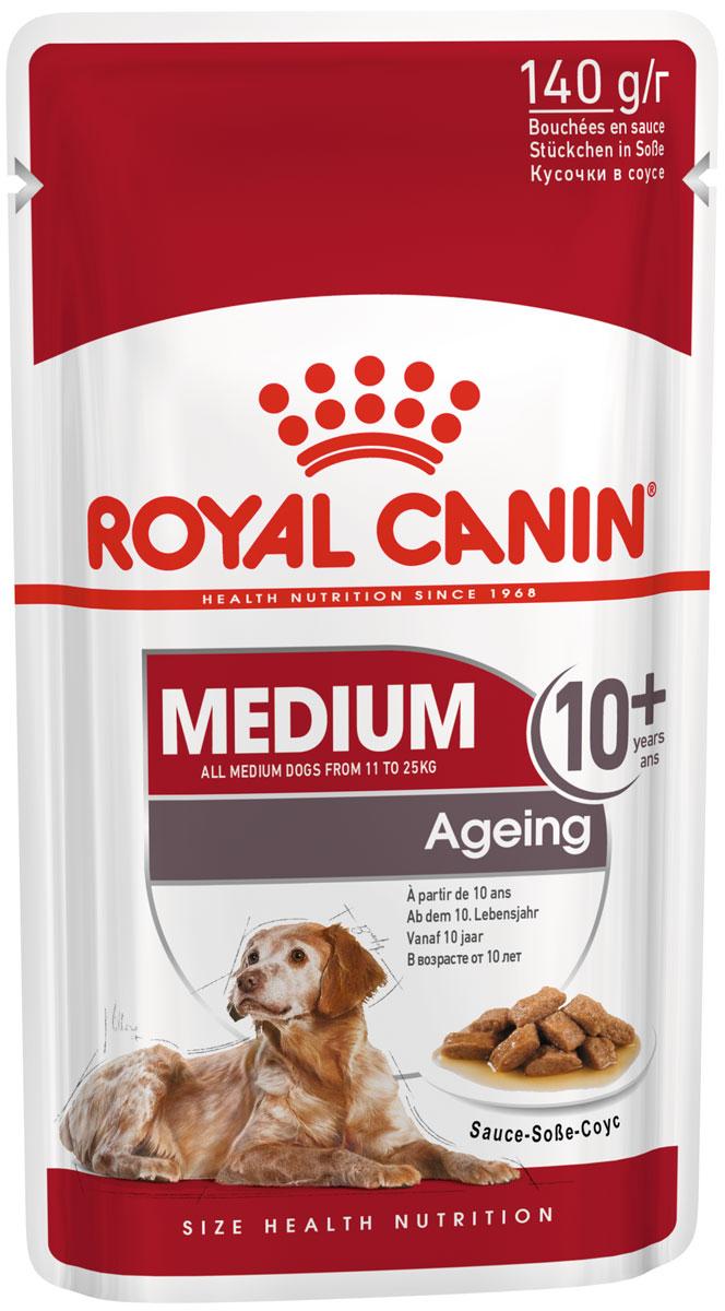 Royal Canin Medium Ageing 10+ для пожилых собак средних пород старше 10 лет в соусе 140 гр (8 + 2 шт)