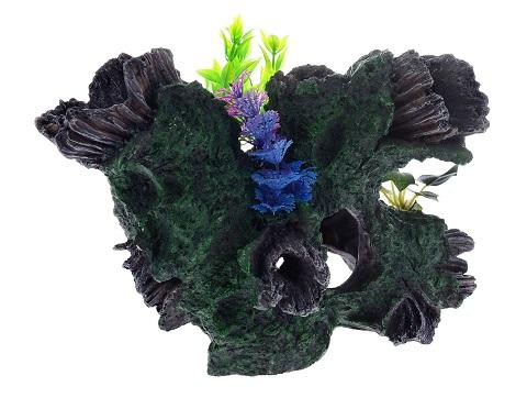 Декор грот для аквариума Коряга с растением, 30,5 х 20 х 20,5 см, Barbus, Decor 036 (1 шт)