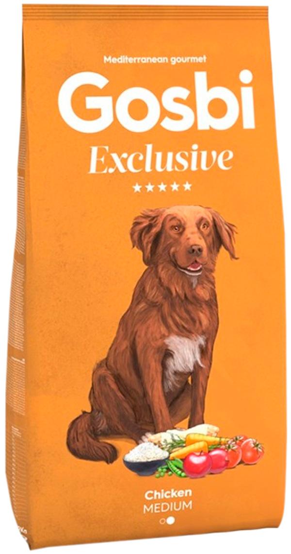 Фото - Gosbi Exclusive Adult Medium Chicken для взрослых собак средних пород с курицей (3 кг) gosbi лакомство gosbits для взрослых собак с курицей 300 г