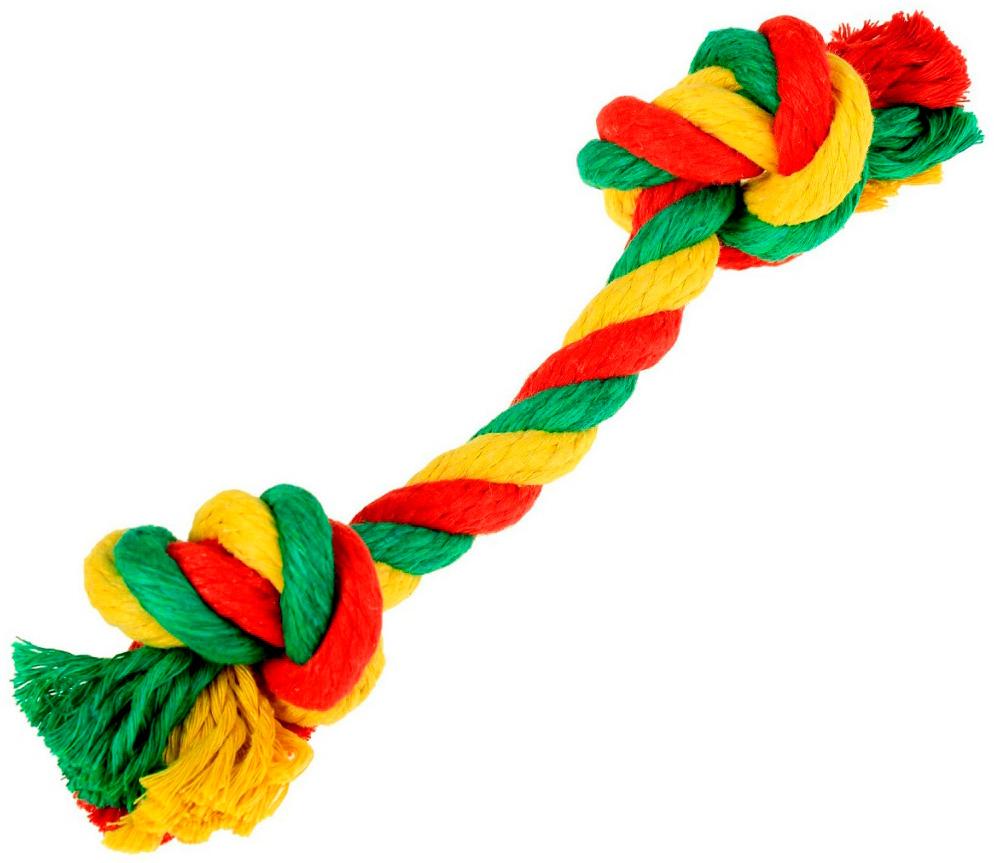 Игрушка для собак Doglike Dental Knot Грейфер с 2 узлами канатный цветной большой  (1 шт)