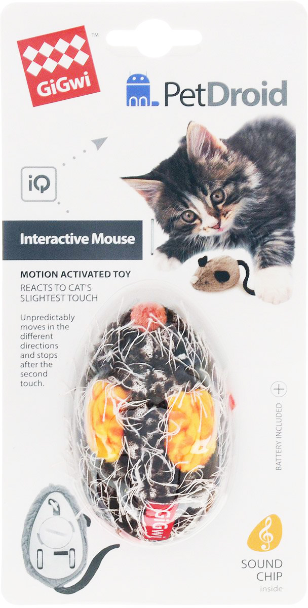 Игрушка для кошек GiGwi Pet Droid Мышка интерактивная 9 см (1 шт) интерактивная игрушка ar gun 1100 ar005