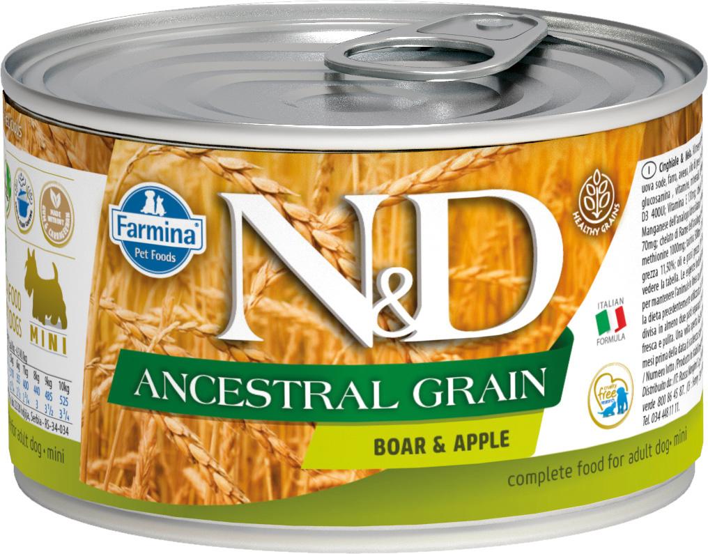 Farmina Dog N&d Ancestral Grain Adult Mini Boar & Apple низкозерновые для взрослых собак маленьких пород с кабаном и яблоком 140 гр (140 гр)