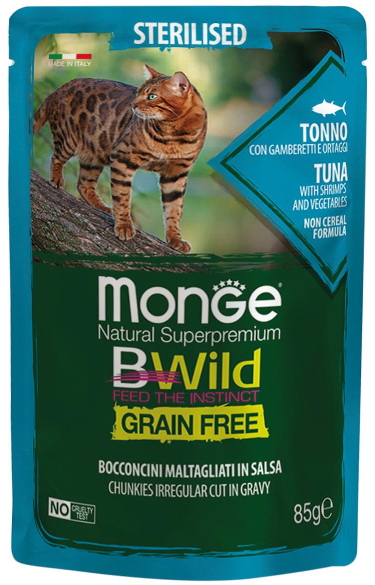 Monge Cat Bwild Grain Free Sterilised беззерновые взрослых кастрированных котов и стерилизованных кошек с тунцом, креветками и овощами в соусе (85 гр х 28 шт)