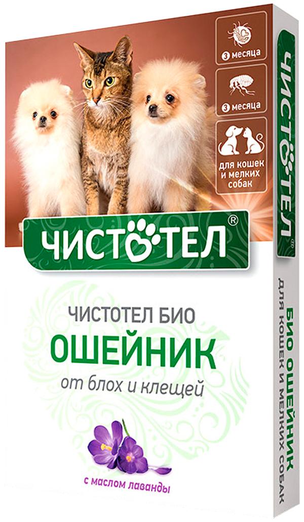 чистотел био ошейник для собак маленьких пород и кошек против блох и клещей с лавандой 40 см (1 шт)