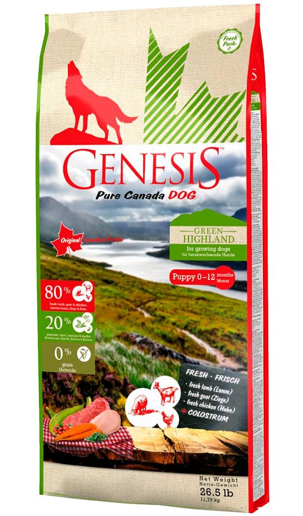 Genesis Pure Canada Green Highland Puppy беззерновой для щенков всех пород, беременных и кормящих сук с курицей, козой и ягненком (2,268 кг)
