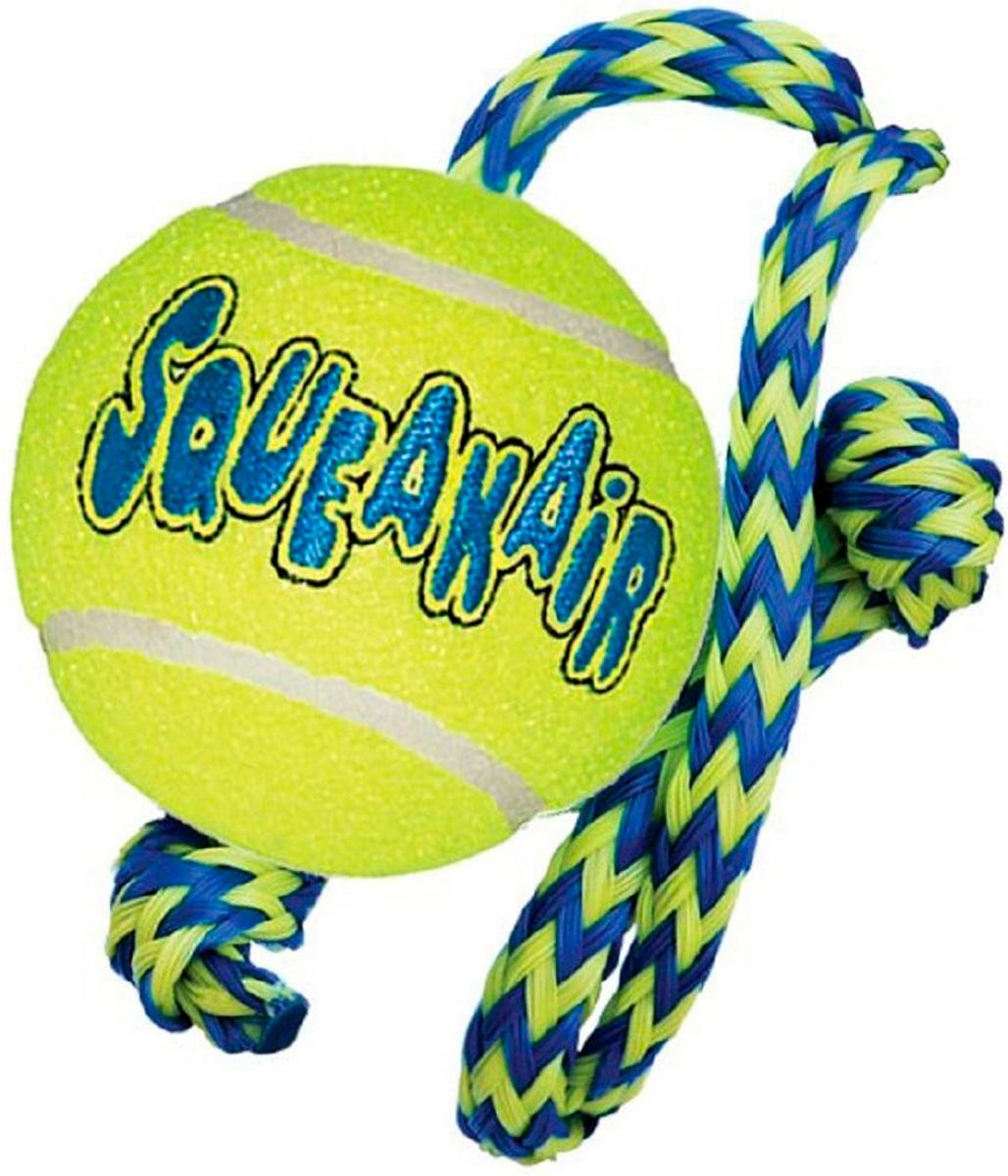 Игрушка для собак Kong Air Теннисный мяч с канатом (средняя)