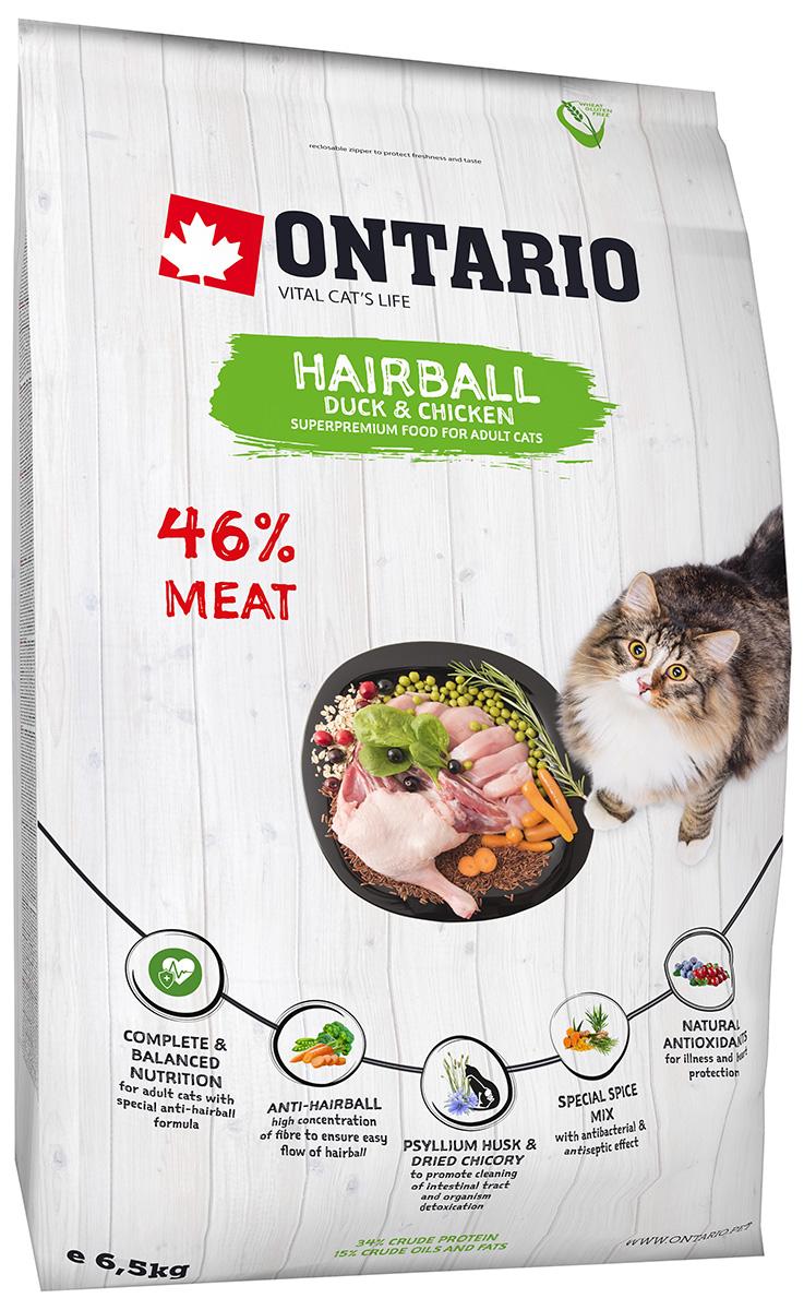 Ontario Cat Adult Hairball Duck & Chicken низкозерновой для взрослых кошек для вывода шерсти с уткой и курицей (0,4 кг)