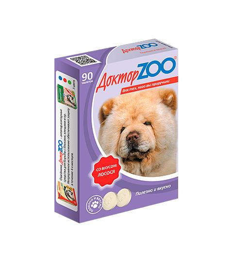 доктор Zoo мультивитаминное лакомство для собак со вкусом лосося и биотином (90 таблеток)