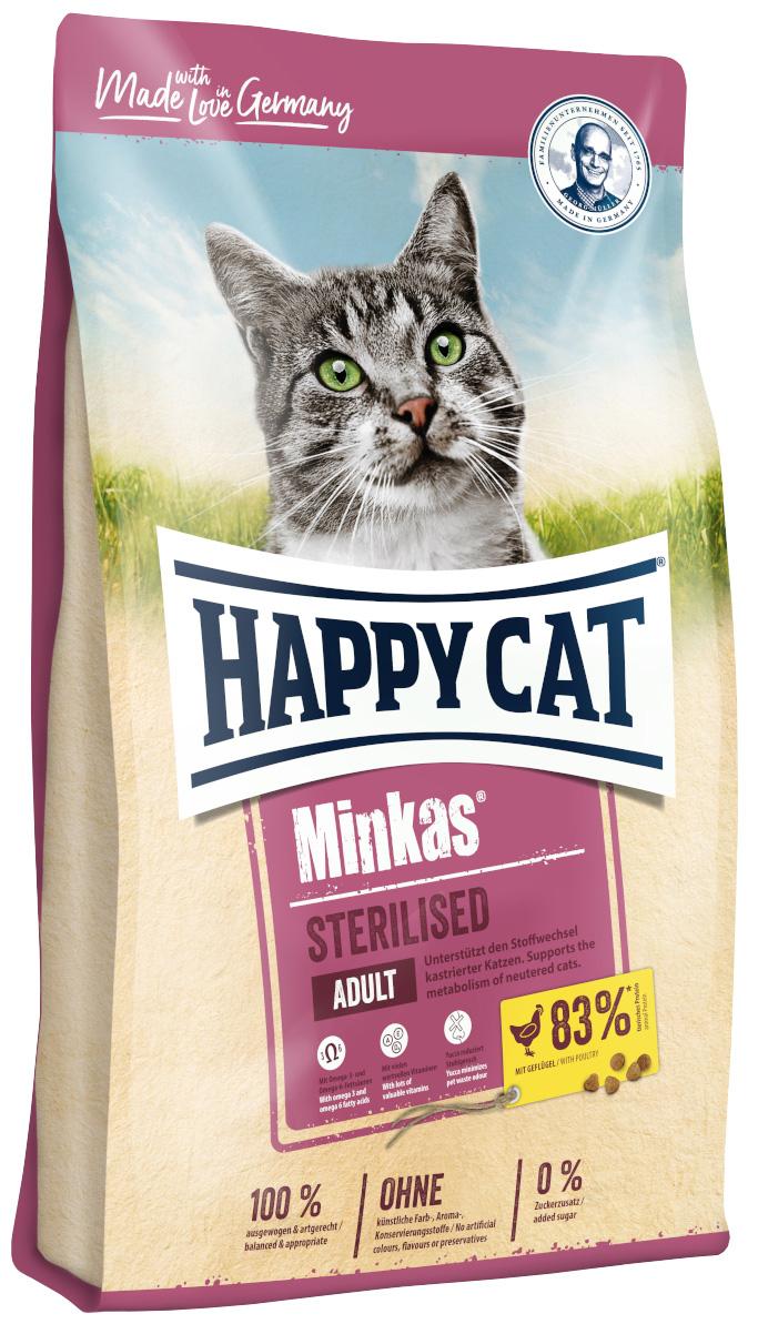 Happy Cat Minkas Sterilised для взрослых кастрированных котов и стерилизованных кошек с птицей (0,5 кг) фото