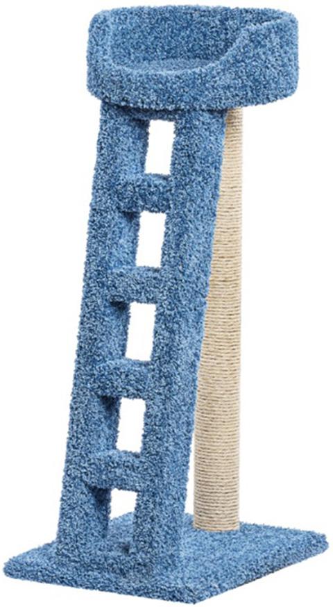 Когтеточка Лежанка с лестницей Пушок ковролин синяя (1 шт)